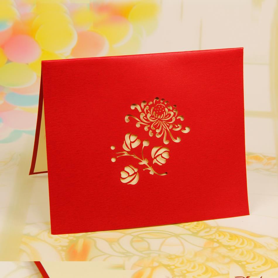 Handmade Animated Adult Birthday Greetings Cards Kirigami 3D Pop Up Card Chrysanthemum Free Shipping On Aliexpress