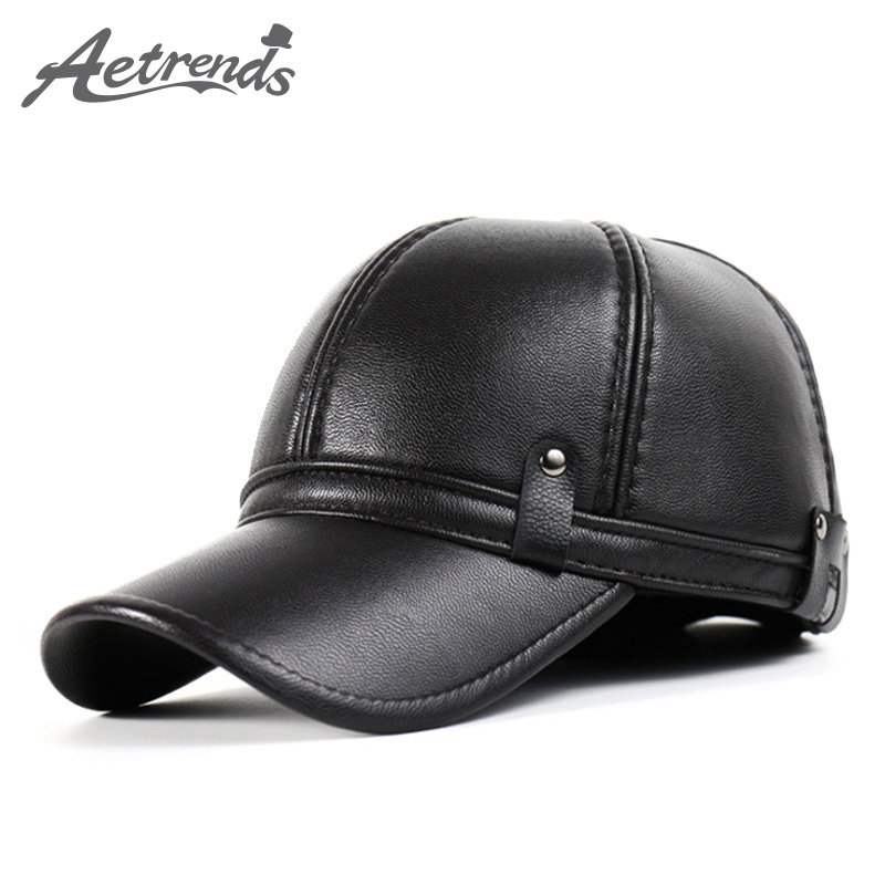 [AETRENDS] Winter Leather Baseball Cap Men Polo Hat with Ears Warm Hats Z-3861 novelty women men winter warm black full face cover three holes mask beanie hat cap fashion accessory unisex free shipping