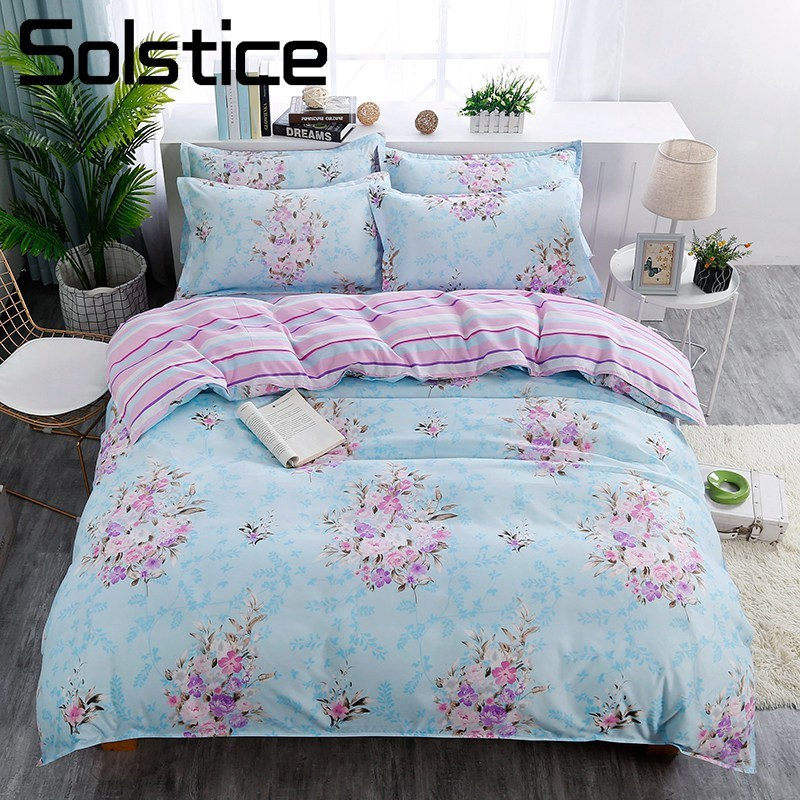 Solstice Suit Bedding-Set Duvet-Cover King-Queen Blue Pillowcase Sheet Flower Linens