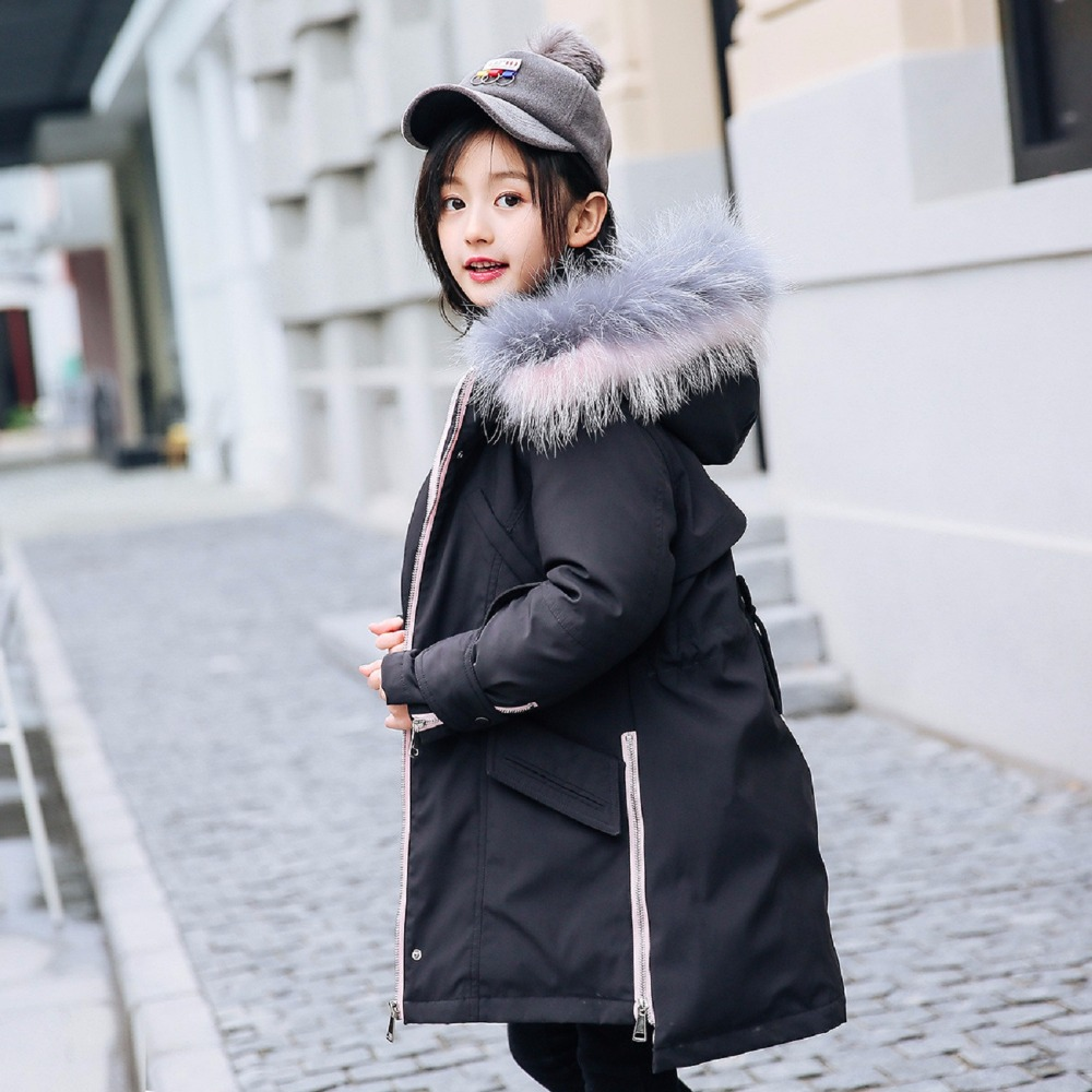 Girls Down Coat Kids Winter Jacket 2018 Kids Clothing for Teen Girl Long Thickened Hooded Outerwears for 6 8 10 12 14 Years christmas cotton padded parkas teen winter coat girl long red pink black hooded warm winter jacket for girl 6 years 8 10 12 14