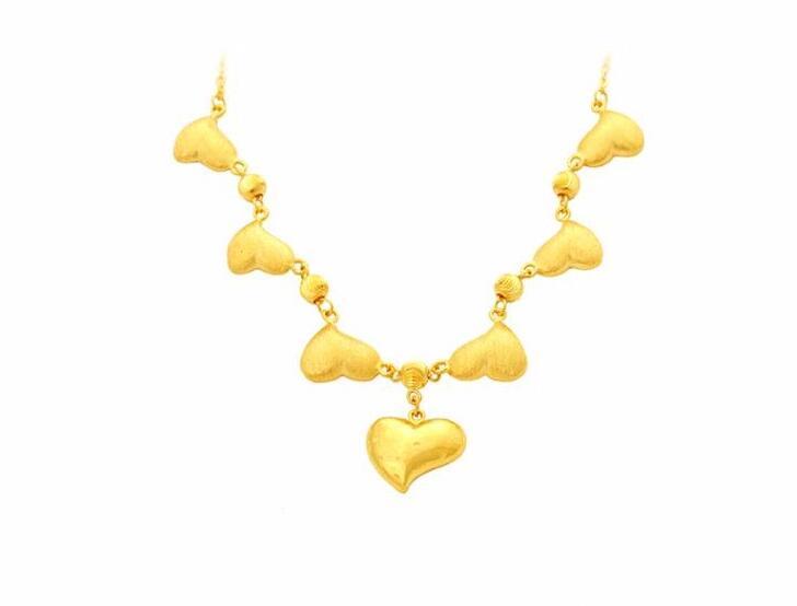 Пышное чистый 24 К желтого золота сердце Цепочки и ожерелья цепь Тяжелая Золотая 15.71 г