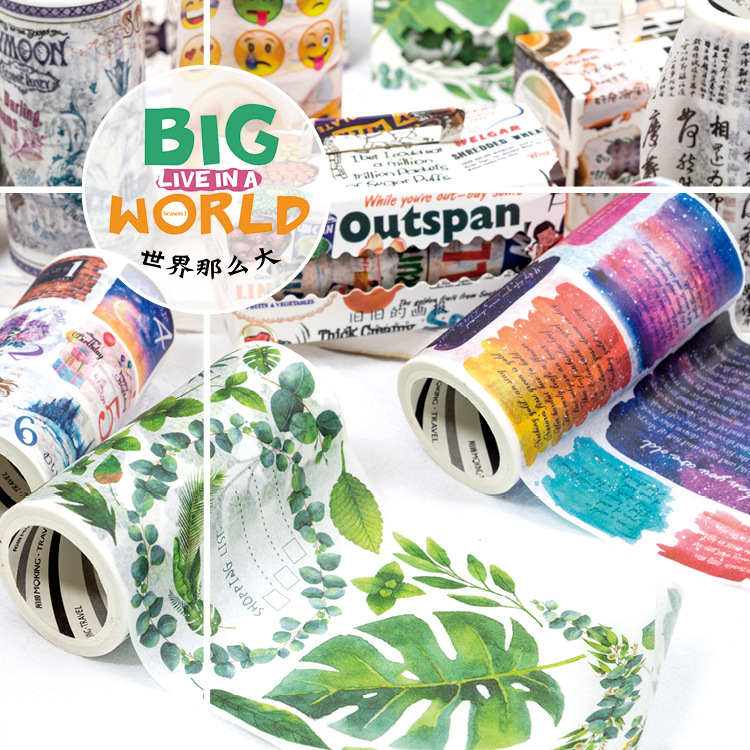 9 Cm Wide The Global Fantasies Decorative Washi Stickers Scrapbooking Stick Label Diary Stationery Album Stickers