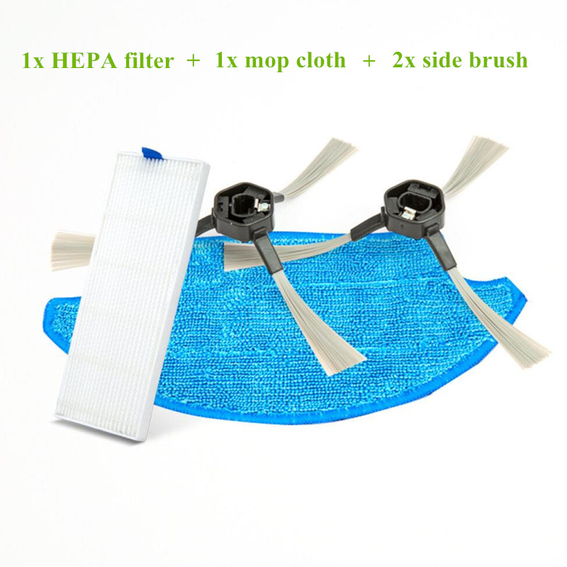 2x robotic side brush and 1x HEPA filter and 1x Mop cloth for Dibea d900 D960 robot Vacuum Cleaner Parts Accessories(China)