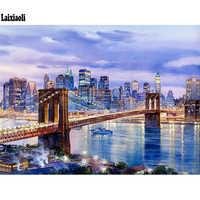 5D Diy Diamond Painting New York Brooklyn Bridge Diamond Mosaic Full Square City Night landscape Diamond Embroidery cross stitch