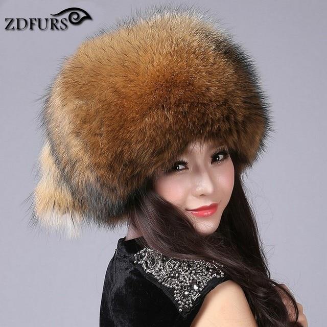 ZDFURS * Free Shipping New Fashion Beanies Women's Winter Caps Fox Fur Hats  female sliver fox fur Mongolian hat dome ZDH-161013