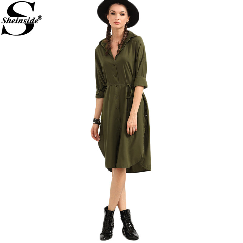Sheinside 2016 self tie high low shirt dress new style Women s long sleeve shirt dress