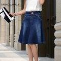 Moda de Cintura Alta Na Altura Do Joelho-Comprimento Da Saia Jeans Para A Menina Tamanho Grande 5XL Trompete Denim Busto Saia Das Mulheres