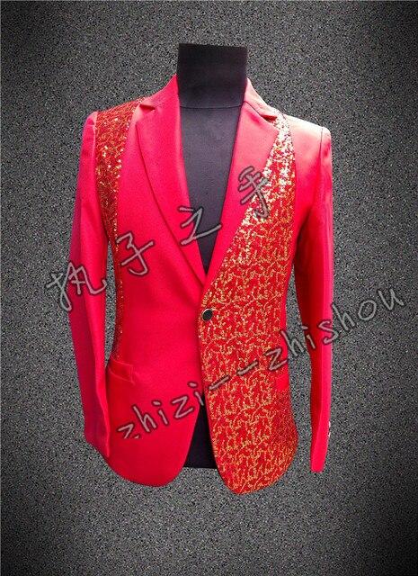 2015 moda lantejoulas pretas dos homens blazer vermelho Masculino homens paillette traje ds trajes para cantor dancer roupas exo estrela mostrar