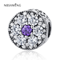 Original 100% 925 Sterling Silver Beads Blooms Purple Crystal Bead Fit Pandora Charms Bracelets & Bangles Diy Jewelry YW20640