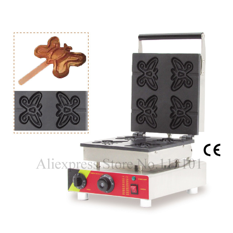 Butterfly shape lolly waffle maker great snack machine stainless steel butterfly waffle machine with four pcs moulds in one tray