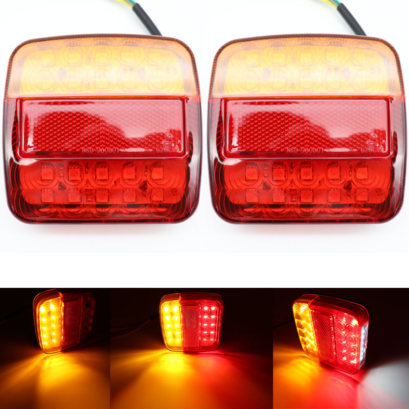 Trailer Tail Lights Kit,1 Pair 12V 34 LED Square Superbright IP68 Waterproof Turn Signal Lamp For Boat Lorry Van Caravan