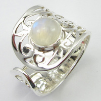 Natural Rainbow Moonstone Ring Size 9.25 Handmade Jewelry Silver Unique Designed