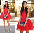 Red Mini Length Lace Cocktail Dress Ball Gown Party Dress Sleeveless Vestidos De Festa Curtos Noite