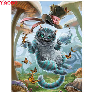 DIY Diamond Painting Full Square/Round Drill Diamond Embroidery Alice in Wonderland 3D Rhinestones Pictures Diamond Mosaic Cat