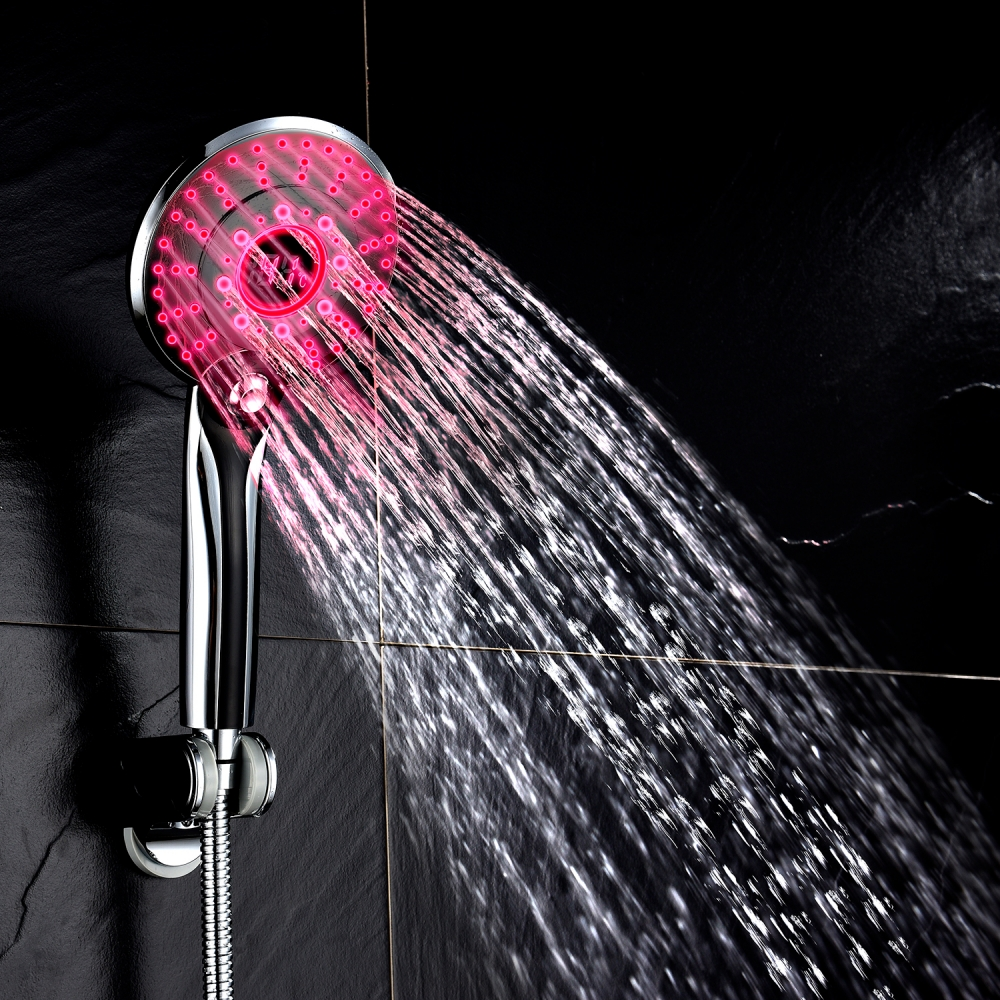 Shower Heads Adjustable 3 Mode Led Light Shower Head Sprinkler Temperature Sensor Bathroom M04 Dropship