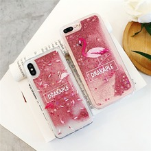 For iPhone XS XR MAX Anti-knock Case X 6 6S 7 8 Plus Cute Animal Flamingo Liquid quicksand Soft TPU Phone