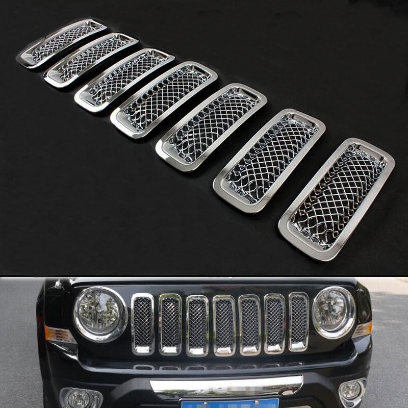 Silver Front Mesh Grilles Trim Grill Cover Insert Shell Honeycomb Fit For Jeep Patriot 11-2015 steel racing front grille grill bezel honeycomb mesh cover trim grid for nissan qashqai 2014 2015 2016