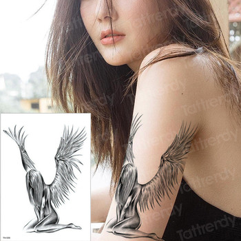 temporary tattoo sheet tatoo temporary stickers angel wing tattoos girl sexy thigh arm tattoo black sleeve tatto boys men decal