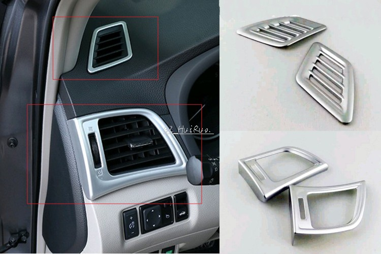 4pcs Inner Upper+Side Air-condition Air Outlet Frame Cover Trim For Nissan Sentra Sylphy 2012 2013 2014  2015 2016 high quality stainless steel 20pcs full window b pillar frame trim cover for nissan sentra sylphy 2012 2013