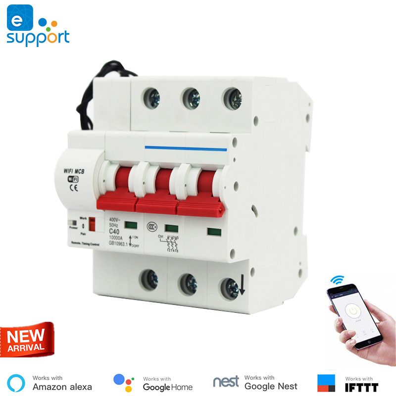 Smart home WiFi 3P Smart Circuit Breaker Automatic Switch overload short circuit protection work with Amazon