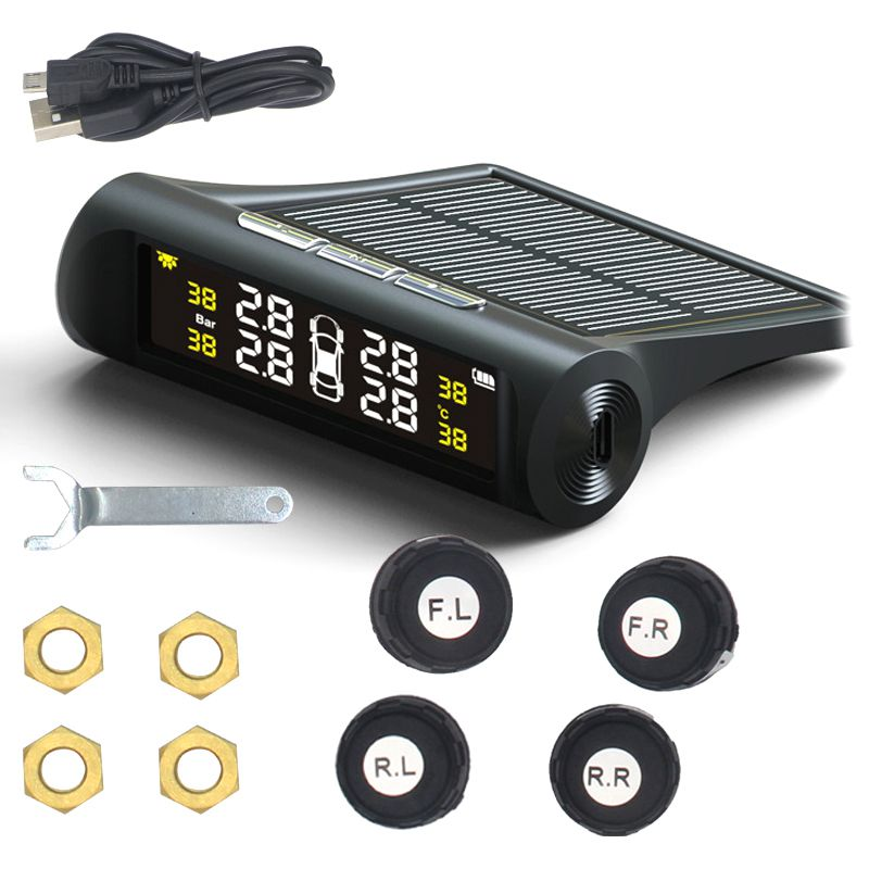 Inteligentny samochodowy system monitorowania ciśnienia w oponach TPMS ładowanie energii słonecznej cyfrowe systemy alarmowe w samochodzie