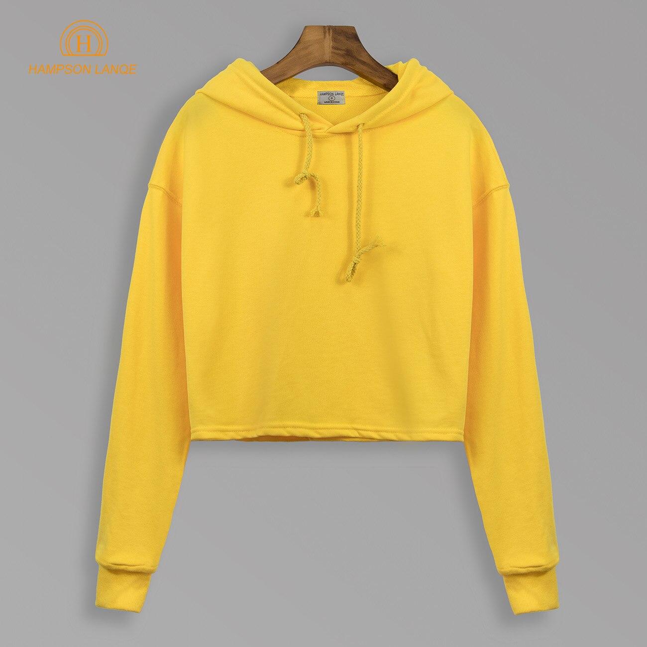 Herbst 2018 Einfarbig Cropped Hoodies Frauen Kurz Stil Sweatshirts Weibliche Schwarz Blau Grau Gelb Kamel Türkis Pullover