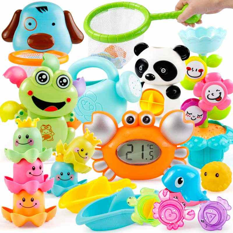 Baby Bathroom Bath Toys Cute Plastic Crab Water Wheel Watering Kettle Fish Mesh Net Kids Beach Shower Set Toys for children