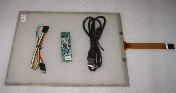 10,4 colio 225,29,1 mm * 173,74 mm jutiklinis ekranas su 4 laidų varžtais su USB prievadu valdikliu + jutiklinės valdiklio kortelė + CD kambarys