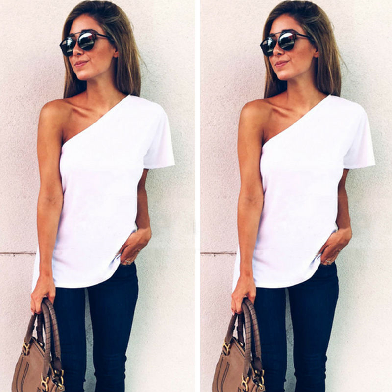 2017 hot summer t shirt women loose one shoulder tops casual white t shirt in t shirts from. Black Bedroom Furniture Sets. Home Design Ideas