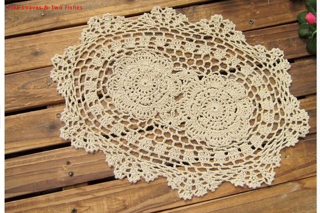 White And Beige Handmade Crochet Flower Oval Placemats Cotton