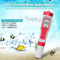 4 in 1 Portable Digital PH TDS EC TEMP Water Tester Multi function Test Pen Kit for Swimming Pool Drinking Water Spa