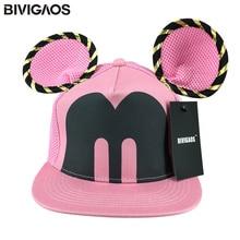 2016 Summer Womens Cartoon Cute Big Mouse Ears Eyes Snapback Hats Mesh Cap Hip Hop Baseball Caps Female Topee Sun Hat For Women