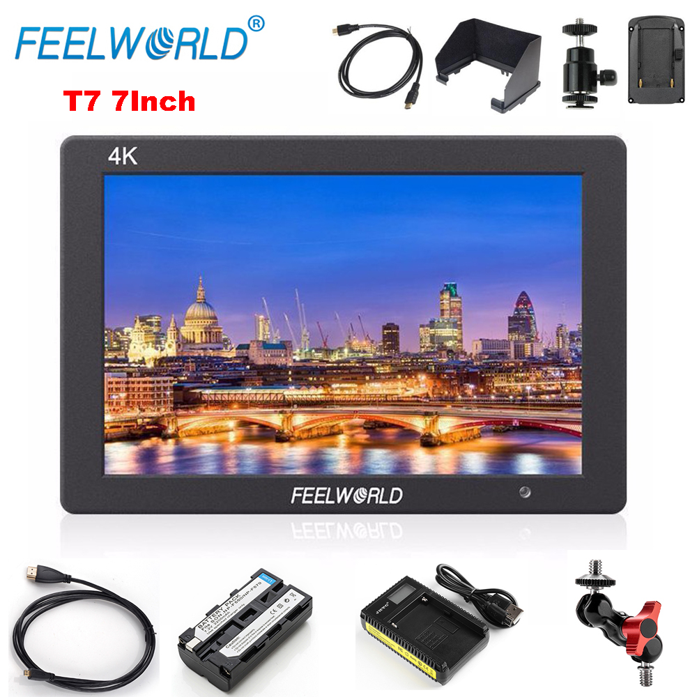 Feelworld T7 7 Inch IPS 1920x1200 Full HD 4K HDMI Input/Output Solid Aluminum Housing On-Camera Monitor with Battery / Arm Mount