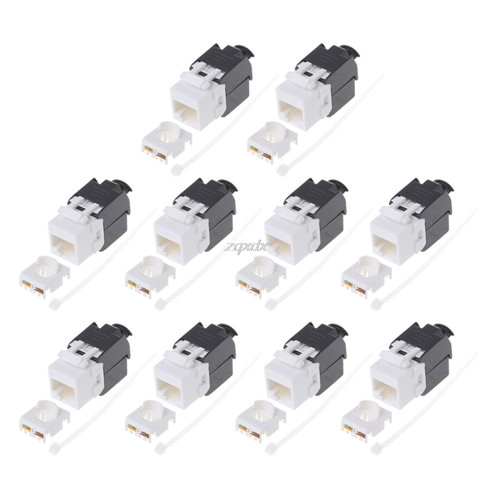 Free Shipping 10pcs Gigabit RJ45 CAT6 Keystone Jacks Modules Tool-free Connection Cable adapte free shipping 10pcs 100% new rf5c62