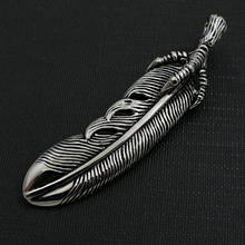 Takahashi Goro Jewelry Black Silver Vintage Cast Feather Necklace Stainless Steel Eagle Claw Pendant vintage feather necklace