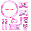 10Pcs Set Funny Hello Kitty Car Accessories Car Seat Covers Kitty Cat Universal Car Interior Accessories for Lada Kalina Skoda
