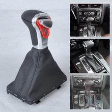 CITALL Für Audi A3 A4 A5 A6 Q7 Q5 2004 ~ 2010 2011 2012 2013 2014 2015 silber Automatische AT Schaltknauf + Schwarz Pu-leder gamasche