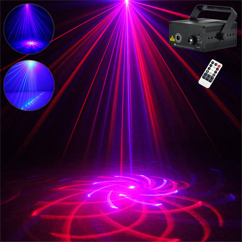 AUCD Mini 20 RB Patterns Laser Effect Remote Sound Projector 3W Blue LED Mixing Effect DJ Home Party Show Stage Lighting Z20RB dhl free shipping led laser stage lighting 5 lens 80 patterns rg mini led laser projector 3w blue light effect show for dj disco