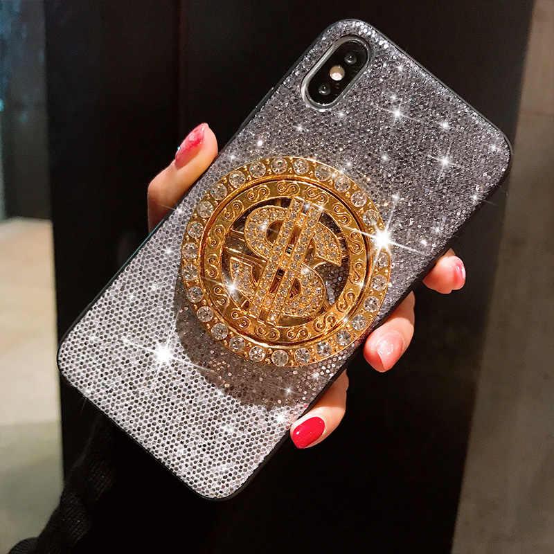 Caja protectora de la caja del teléfono del diamante del cristal giratorio del dólar estadounidense para el iphone 6 6s 7 8 XS Max XR X