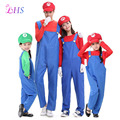 1X Super Mario Family Costume Cartoon Cosplay Plumber Red Costume Top Pants Mario Fantasia Super Mario Bros For Adult
