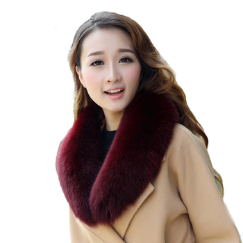Fox collar Women & Men Spring Winter Warm Solid Jacke Coat Shawls Lining 80cm2018 New Long Real Fox Fur Collar Scarf L38 image
