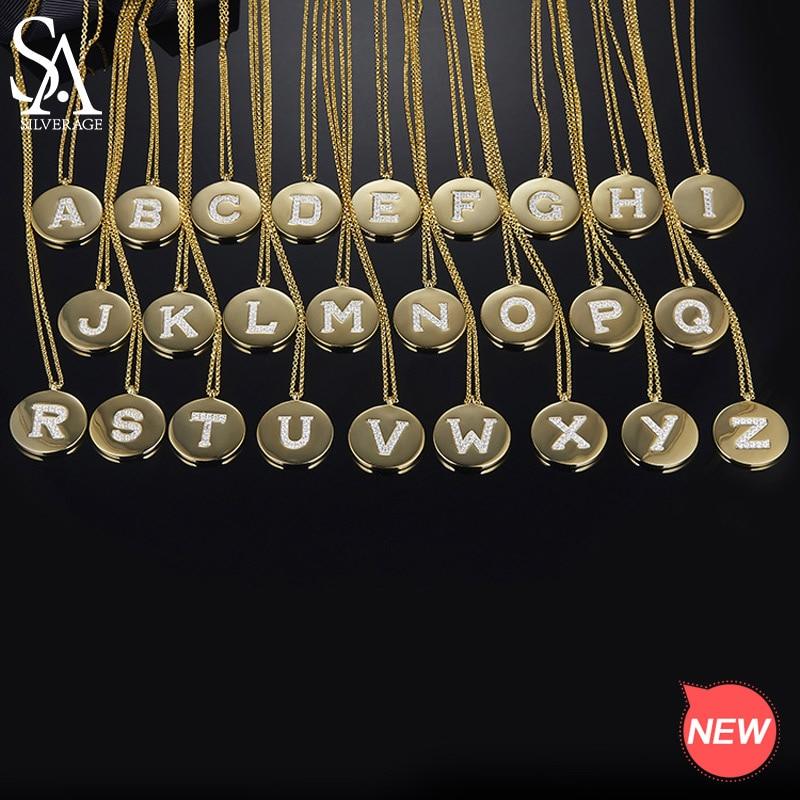 SA SILVERAGE Real 925 collier de lettre en argent Sterling A-Z mot anglais pendentif rond collier en argent Zircon couleur or collier