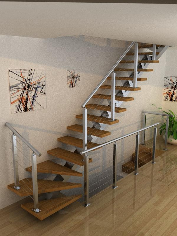 Wire Railing Straight Staircase Escalera With Wood Steps For House Usage On Aliexpress Alibaba Group
