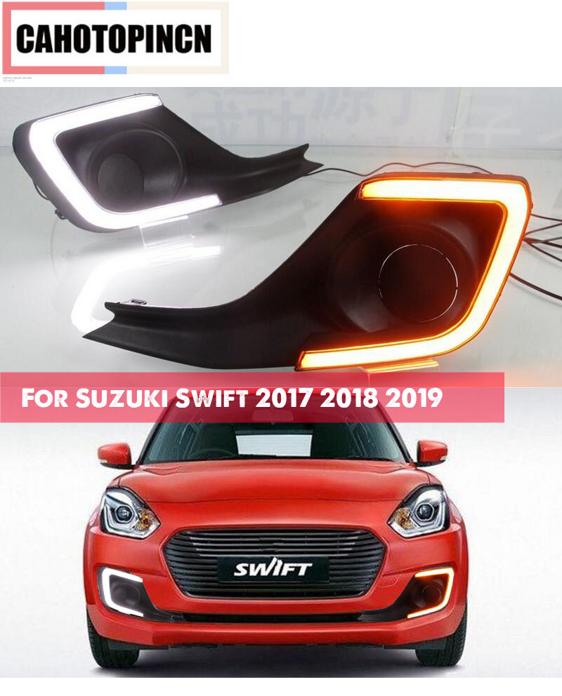 For Suzuki Swift 2017 2018 2019 Turning Yellow Signal style Relay Waterproof 12V LED CAR DRL