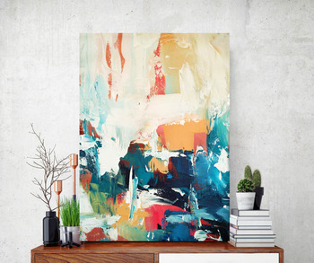 Abstract of Painting Orange Blue Modern Art Large Abstract Painting Yellow Blue  Fine Art Blue Abstract Giclee