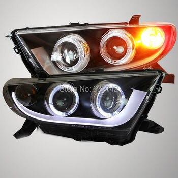 Highlander LED Headlight Angel Eyes For TOYOTA 2012 V1 Type