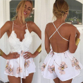 2016 Fashion Rompers Summer Women Jumpsuit Sexy Backless Sleeveless Lace Bra Playsuits Beach Floral Playsuits Overalls Bodysuit