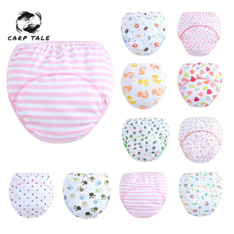 Cute Footprints / Flowers / Love Baby Training Pants Baby Diaper Reusable Nappy Washable Diapers Cotton Learning Pants Kids Wear