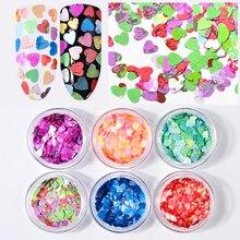 6pcs Nail Art Glitter Colorful Painting Heart Sequins Flakes Untrathin Laser Paillette Manicure Decoration