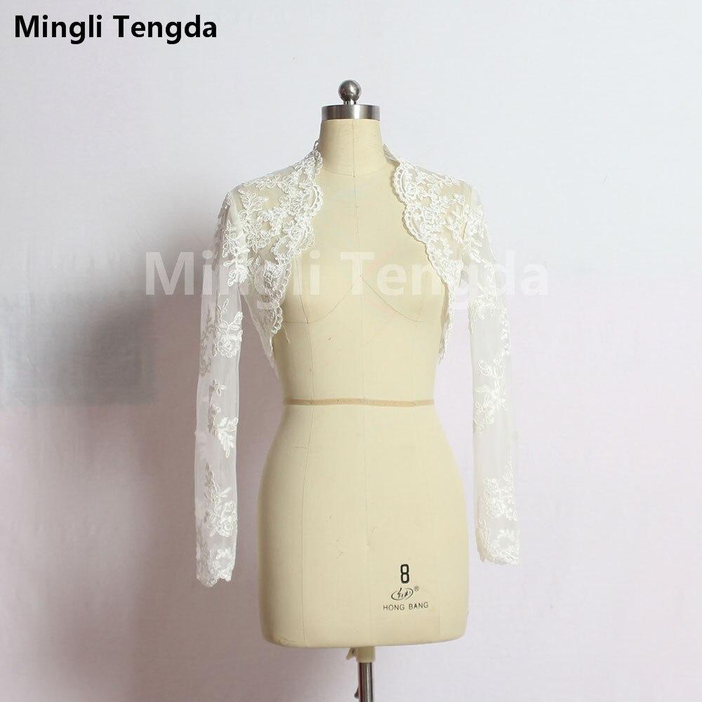 2017 New Hot Sale White Long Sleeves Bridal Shrug Wrap Party Cape Lace Ivory /White Plus Size Wedding Jackets Wedding Bolero